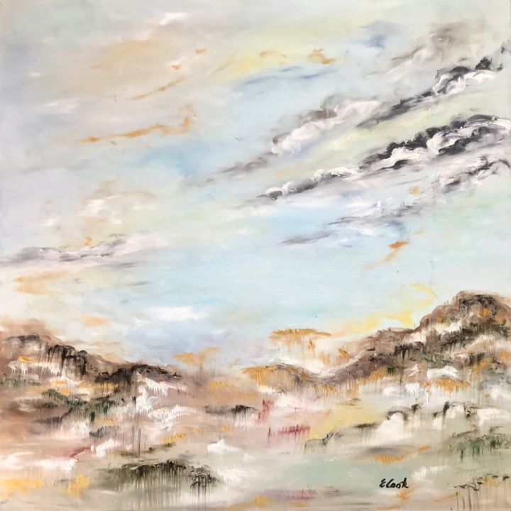 Sweet Oblivion - Painting,  60x60 cm ©2018 by Elisa Cook -                                                            Impressionism, Canvas, Landscape, softfeelings, calm, blue, sky, skyscape, oblivion, sweetness, serenity, clouds, landscape, light, earlymorning
