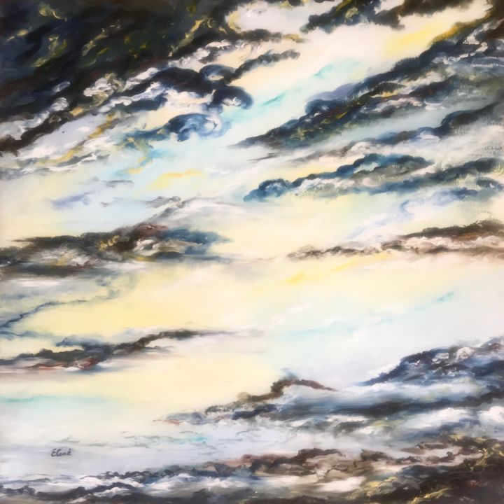 Candid Beginnings - Painting,  80x80 cm ©2018 by Elisa Cook -                                                            Abstract Art, Canvas, Light, light, blue, serenity, clouds, calm, sky, abstract, spanish, swiss, dreams, beginning, dawn, sun