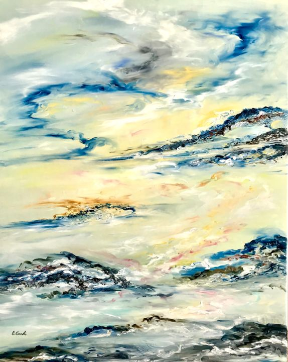 Blushed Hues of Daybreak - Painting,  80x66 cm ©2018 by Elisa Cook -                                                            Abstract Art, Canvas, Aerial, sky, blue, yellow, gold, pink, daybreak, dawn, clouds, sea, reflections, serenity, calm, silence, soft, sun