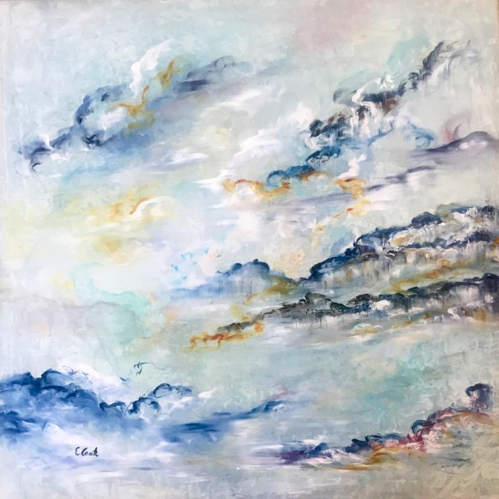 The Never End - Painting,  80x80 cm ©2018 by Elisa Cook -                                                            Abstract Art, Canvas, Abstract Art, blue, sky, clouds, serenity, abstract, calm, love, spanishartist, swissartist, abstractpainting