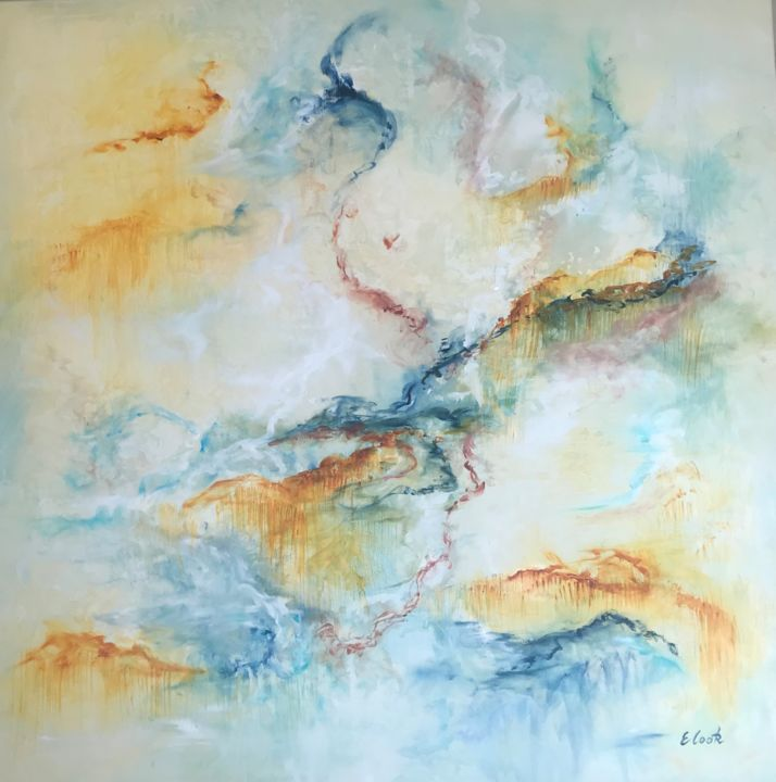 Ces Anges qui souvent me Portent - Painting,  90x90 cm ©2017 by Elisa Cook -                                                            Abstract Art, Canvas, Abstract Art, abstract art, swiss artist, spanish artist, yellow, gold, blue, turquoise, angels, calm, serenity