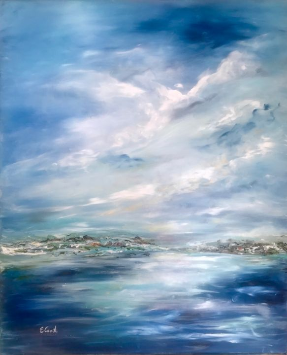 Above and Beyond - Painting,  73x60 cm ©2018 by Elisa Cook -                                                            Impressionism, Canvas, Seascape, sea, blue, seascape, water, reflections, waves, clouds, sky, serenity, calm, spanishartist, swissartist