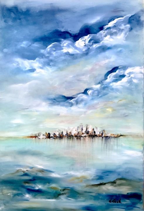 Far and Yet so Close - Painting,  55x38 cm ©2018 by Elisa Cook -                                                            Impressionism, Canvas, Seascape, sea, blue, calm, serenity, water, reflections, clouds, seascape, waves, swissartist, spanishartist