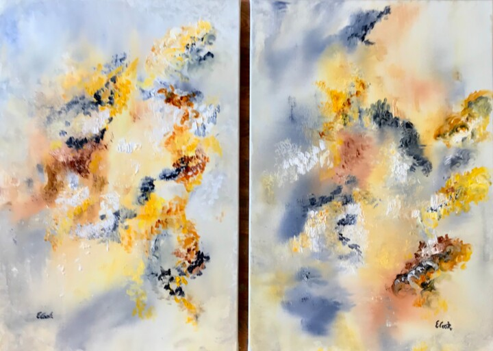 Twin Flames - Painting,  19.7x29.1 in, ©2018 by Elisa Cook -                                                                                                                                                                                                                                                                                                                                                                                                                                                                                                                                                                                                                                                                                                                                                                                                                      Abstract, abstract-570, Abstract Art, serenity, gold, spanishartist, swissartist, abstractpainting, calm, flame, love, grey, yellow, passion, peace, burning, blaze