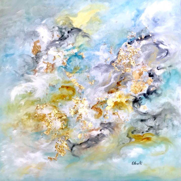 Golden Moments - Painting,  80x80 cm ©2018 by Elisa Cook -                                                            Abstract Art, Canvas, Abstract Art, gold, blue, calm, serenity, abstract art, swissartist, spanishartist, clouds, happiness, sky, sweetness, sunshine, clearsky, joy, light, oil, brightness