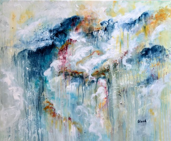 Tears in Heaven - Painting,  73x60 cm ©2018 by Elisa Cook -                                                            Abstract Art, Canvas, Abstract Art, rain, tears, blue, sorrow, mourning, solace, abstractpainting, oilpainting, softness, calm