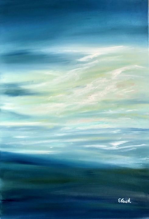 Times of Solace - Painting,  73x60 cm ©2018 by Elisa Cook -                                                            Contemporary painting, Canvas, Seascape, sea, clouds, sky, blue, seascape, water, reflections, light, serenity, oil painting, swiss artist, spanish artist, contemporary painting, calm, comfort, love, feelings, peace, solace, green