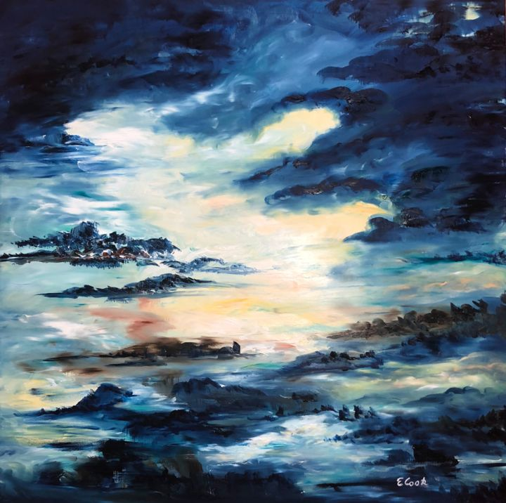 The 25th Hour - Painting,  80x80 cm ©2018 by Elisa Cook -                                                            Abstract Expressionism, Canvas, Spirituality, blue, sky, cloud, spirituality, dream, calm, serenity, light, love, oilpainting, spanishartist, swissartist, water, reflections