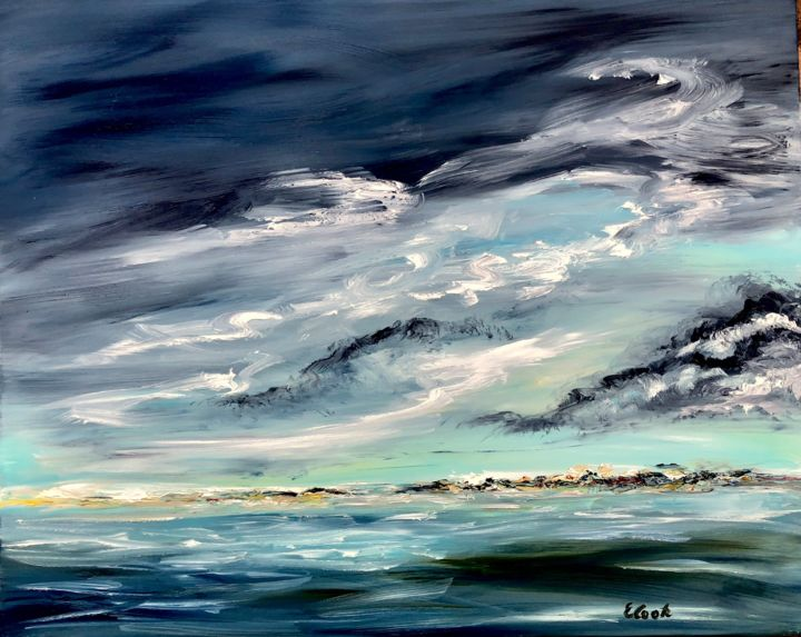 Surrounded by Darkness yet Enfolded in Light - Painting,  80x60 cm ©2018 by Elisa Cook -                                                                        Conceptual Art, Canvas, Water, Landscape, water, sea, refletions, blue, clouds, serenity, calm, introspection, oilpainting, painting, swisspainter, spanishpainted, seascape, sky