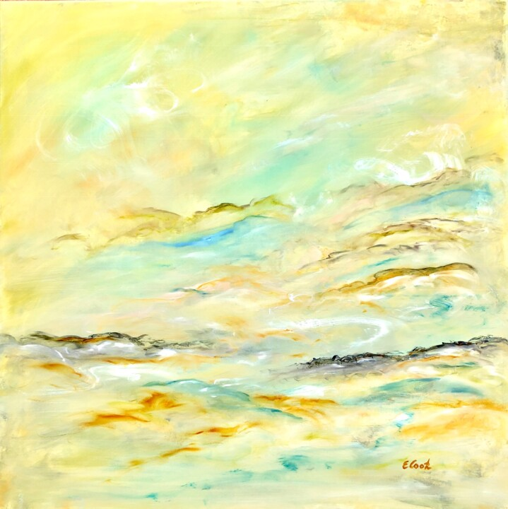 Daring to Be Different - Painting,  31.5x31.5 in, ©2018 by Elisa Cook -                                                                                                                                                                                                                                                                                                                                                                                                                                                                                                                                                                                                                                      Abstract, abstract-570, Abstract Art, abstract art, gold, yellow, clouds, sky, serenity, imagine, swissartist, spanish artist, oil painting