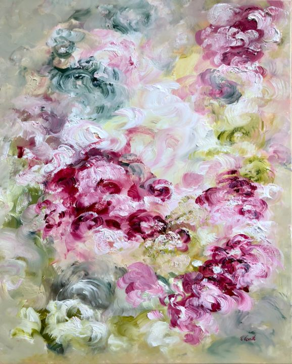 the Embracing Scent of Ancient Roses - Painting,  80x66 cm ©2018 by Elisa Cook -                                                            Contemporary painting, Canvas, Flower, flowers, roses, oil painting, pink, purple, mauve, carmin, bouquet, garden, swiss artist, spanish artist
