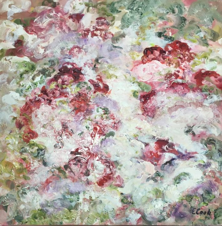 My Own Secret Garden - Painting,  60x60 cm ©2018 by Elisa Cook -                                                            Contemporary painting, Canvas, Flower, flowers, oil painting, pink, red, roses, garden, swiss artist, spanish artist, calm, serenity