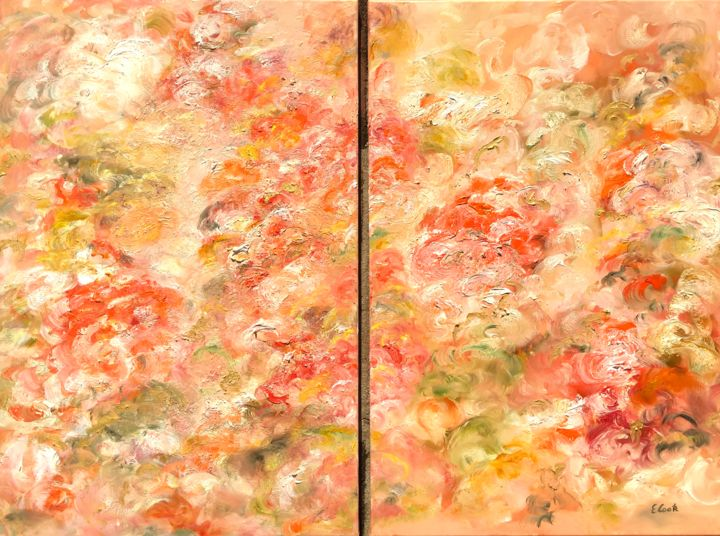 Glowing  Tangerine Whim - Painting,  80x55 cm ©2018 by Elisa Cook -                                                            Contemporary painting, Canvas, Flower, flowers, orange, garden, leaves, pink, oil painting, swiss artist, spanish artist