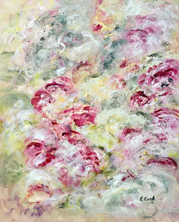 the Never Ending Spring - Painting,  72x60 cm ©2018 by Elisa Cook -                                                            Impressionism, Canvas, Flower, flowers, pink, oilpaintimg, garden, spring, crimson, ancientroses, roses, calm