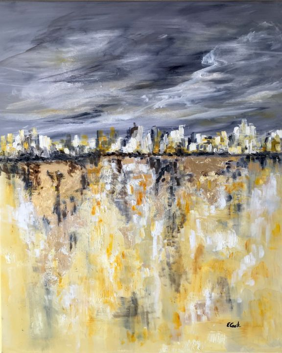 Travelling to Golden Shores - Painting,  72x60 cm ©2018 by Elisa Cook -                                                                        Figurative Art, Abstract Expressionism, Canvas, Water, water, sea, reflections, gold, marine, travel, yellow, grey, skies, clouds