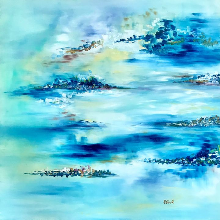 Thank You - Painting,  80x80 cm ©2018 by Elisa Cook -                                                            Abstract Art, Canvas, Abstract Art, blue, abstract painting, calm, serenity, light, swiss painter, spanish artist, oil, sky, clouds, dream, happyness, grateful, appreciation, reflections