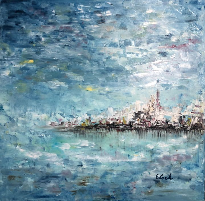 It Never Changes - Painting,  60x60 cm ©2018 by Elisa Cook -                                                                                                            Impressionism, Canvas, Cityscape, Landscape, Outer Space, Seascape, Water, seascape, sea, water, oilpainting, spanishartist, swissartist, impresionism, marine, reflections