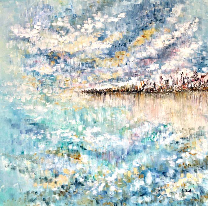 Echoes of Blue - Painting,  80x80 cm ©2019 by Elisa Cook -                                                            Impressionism, Canvas, Seascape, seascape, sea, blue, clouds, serenity, island, reflections, calm, swissartist, spanishartist, cloudline, water, seaside, oilpainting, seashore