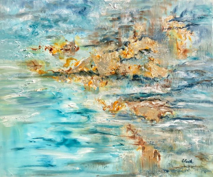 Murmurs of Gold and Crystalline - Painting,  60x73 cm ©2019 by Elisa Cook -                                                            Abstract Art, Canvas, Abstract Art, blue, gold, abstract art, reflections, sky, skyline, clouds, sea, seascape, oilpainting, serenity, spanish artist, swiss artist