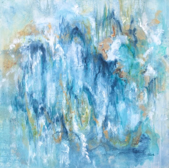 Weeping Willows - Painting,  100x100 cm ©2019 by Elisa Cook -                                                            Abstract Art, Canvas, Abstract Art, verde, azul, arte abstracto, abstract art, abstract painting, pintura abstracta, oleo, arboles, sauces