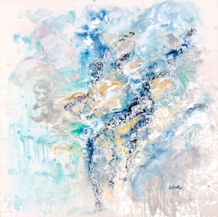 If Only Dreams Could Come True - Painting,  80x80 cm ©2019 by Elisa Cook -                                            Abstract Art, Abstract Art, azul, blue, oro, dorado, gold, silver, plata, plateado, abstractpainting, pintura abstracta, serenidad, serenity, dreams, suenos, blanco, acrlicos, oleos, oilpainting, acrylicpainting, arte contemporaneo