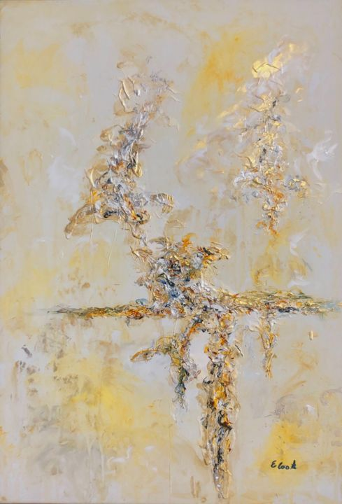 Light of my Life - Painting,  29.5x19.7 in ©2019 by Elisa Cook -                                            Abstract Art, Abstract Art, arteabstracto, abstract, painting, pintura, acrilico, oleo, oilpainting, acrylic painting, oro, plata, silver, reflections, reflejos, mar, agua, sea, clouds, nubes, gold, serenity