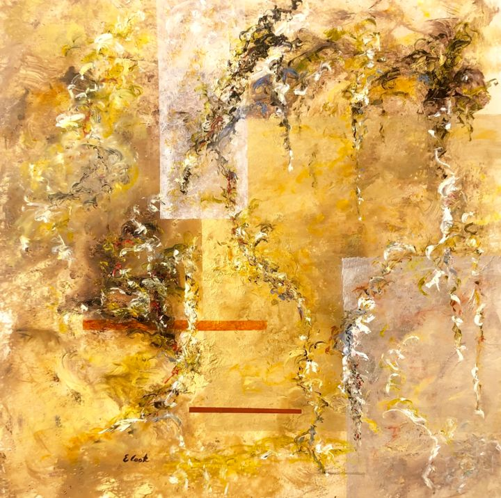 New Dream, New Hopes - © 2019 abstracto, abstract, painting, pintura, oleo, acrilico, acrylic, oil, gold, silver, oro, plata, pintora espanola, spanish painter, brown, marron, tierra, earth Online Artworks
