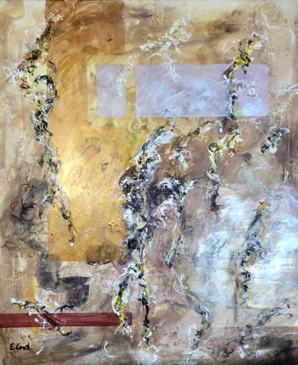Champagne in the Garden - Painting,  28.7x23.6 in ©2019 by Elisa Cook -                                            Abstract Art, Abstract Art, abstracto, abstract, painting, pintura, contemporaneo, contemporary, gold, oro, plata, silver, pearl, oleo, oil, acrilico, acrylic