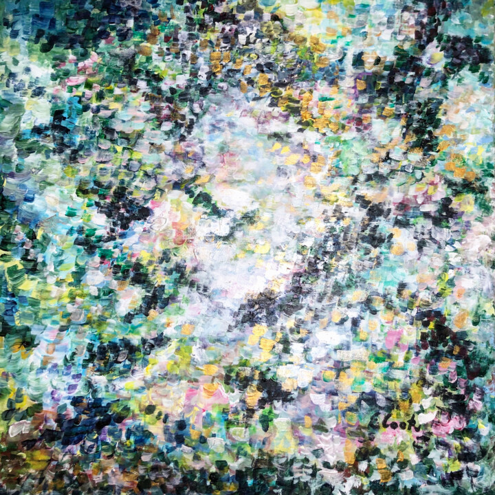That Sunny Sunday - Painting,  23.6x23.6 in, ©2019 by Elisa Cook -                                                                                                                                                                                                                                                                                                                                                                                                                                                                                                                                                                                                                                                                                                                                                                                                                      Impressionism, impressionism-603, Abstract Art, abstract, acrilic painting, pintura contemporanea, contemporary painting, pointillisme, impresionist, pinture impressioniste, blue, green, silver, dorado, plateado, verde, azul