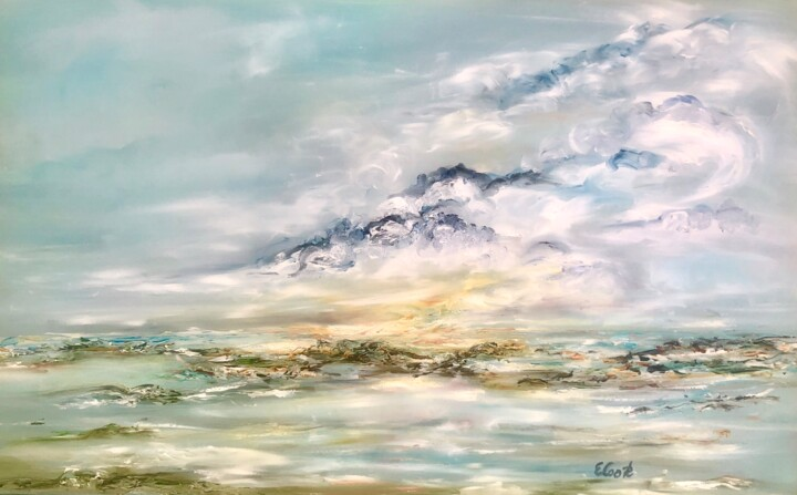 Gliding into Bright Tomorrows - Painting,  15x23.6 in, ©2019 by Elisa Cook -                                                                                                                                                                                                                                                                                                                                                                                                                                                                                                                                                                                                                                                                                                                                                                                                                                                                                                                                                                                                                                                                                              Impressionism, impressionism-603, Seascape, seascape, marine, marina, mar, nubes, clouds, sea, water, reflections, reflejos, amanecer, dawn, sunrise, cielo, sky, nuages, mer, eau, agua, aube