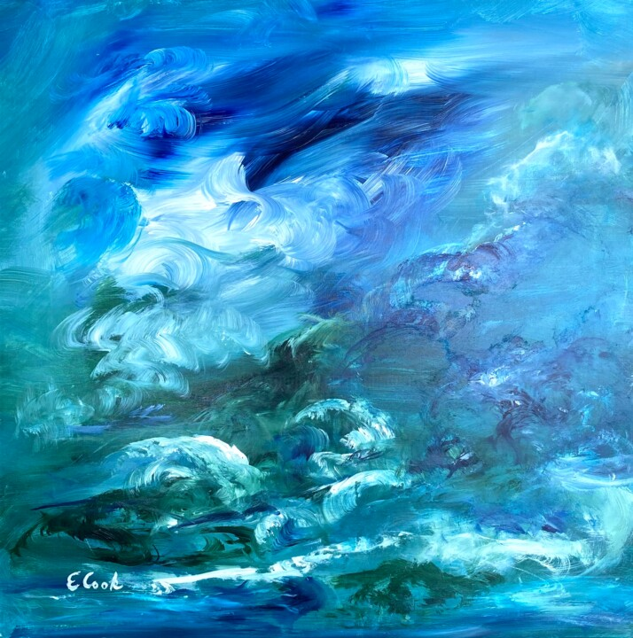 The Darkest Hour is Just Before Dawn - Painting,  23.6x23.6 in, ©2020 by Elisa Cook -                                                                                                                                                                                                                                                                                                                                                                                                                                                                                                                                                                                                                                                                                                                                                                                                                      Impressionism, impressionism-603, Aerial, Colors, Light, clouds, nubes, sky, storm, cielo, azul, blue, acrylic painting, pintura acrilica, contemporary painting, tempestad, pintura contemporanea