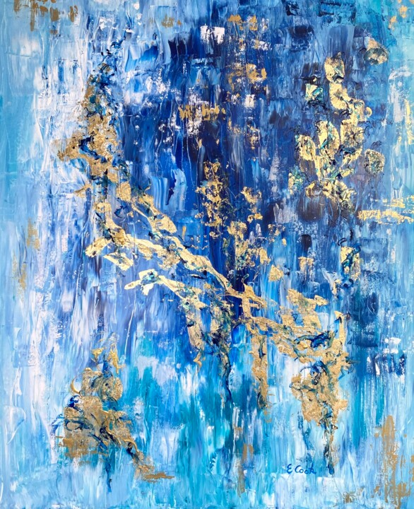 Gold Slivers on Blue Hues - Painting,  29.1x23.6 in, ©2020 by Elisa Cook -                                                                                                                                                                                                                                                                                                                                                                                                                                                                                                                                                                                                                                                                                                                                                                                                                                                                                                                                                                                                                                                  Abstract, abstract-570, Abstract Art, Light, Spirituality, gold leaf painting, abstract, acrylic painting, pintura acrilica, hoja de oro, arte contemporaneo, contemporary art, painting, azul, blue, pintura abstracta, pan de oro, gold, oro, pintura dorada, luz, light