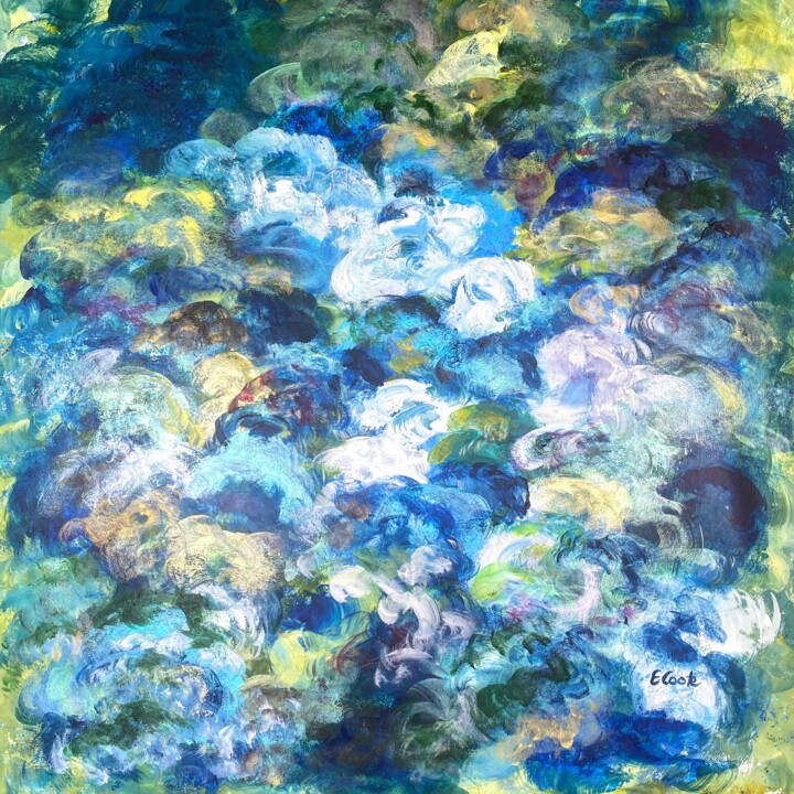 Whirling Blues - Painting,  31.5x31.5 in, ©2020 by Elisa Cook -                                                                                                                                                                                                                                                                                                                                                                                                                                                                                                                                                                                                                                                                                                                                                                                                                                                                                                                                                                                                                                                                                                                                                                                      Abstract, abstract-570, Abstract Art, Aerial, Colors, Comics, Light, abstract, abstracto, nubes, clouds, sky, cielo, colores, blue, azul, luz, light, acrylic painting, acrilico, serenidad, serenity, impressionism, impresionismo, Van Gogh