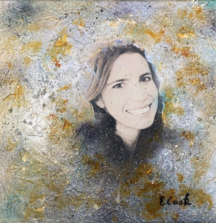 """Collages titled """"Taryn, portrait"""" by Elisa Cook, Original Art, Acrylic"""