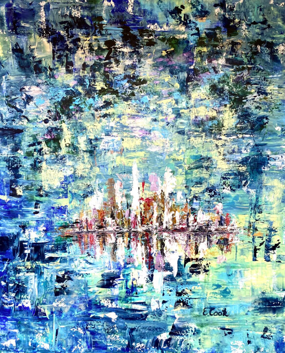 """Painting titled """"Merry Skyline"""" by Elisa Cook, Original Art, Acrylic"""