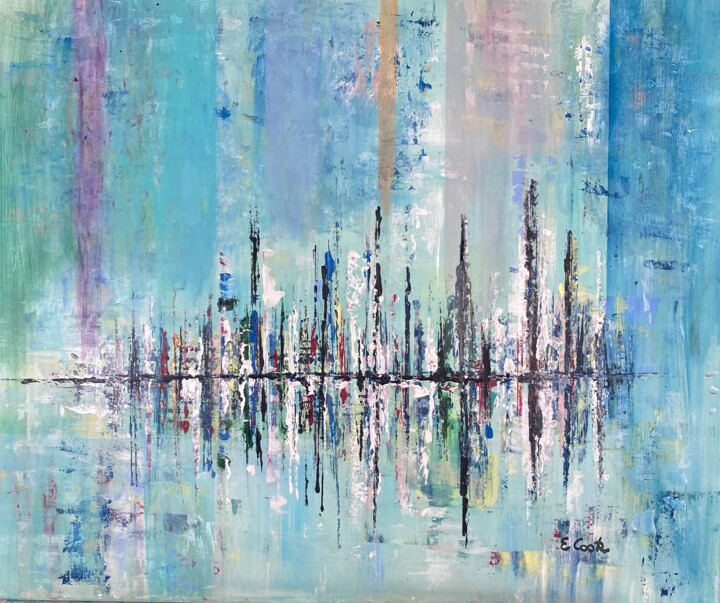 """Painting titled """"Turquoise Horinzons"""" by Elisa Cook, Original Art, Acrylic"""