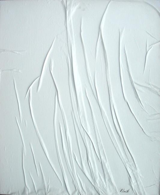 Plissages I - Painting,  60x50 cm ©2008 by Elisa Cook -                            Abstract Art, collage, abstrait, acrylique, blanc