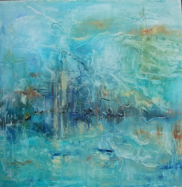Nuit de mer - Painting,  23.6x23.6 in, ©2009 by Elisa Cook -                                                                                                                                                                                                                                                                                                                                                                                                                                                                                                                                                                                      Abstract, abstract-570, bleu, huile, mer, eau, reflets, sérénité, mystère, paysage, huile, marine