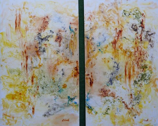 Gouttes d'ambre - Painting,  50x30 cm ©2009 by Elisa Cook -                            Abstract Art, Diptyque