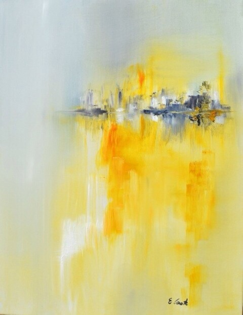 Le feu du soleil couchant - Painting,  26x19.7 in, ©2014 by Elisa Cook -                                                                                                                                                                                                                                                                                                                                                                                                                                                                                                                                                                                      Abstract, abstract-570, Soleil, jaune, orange, soleil couchant, abstrait, soirée, éclatant, paysage, paysage abstrait, mer
