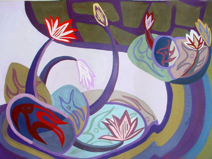 """Painting titled """"Water lily in the g…"""" by Elisa Quynh Elisa Quynh, Original Art, Acrylic"""