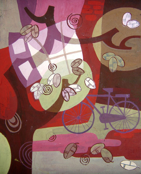 """Painting titled """"The old bicycle in…"""" by Elisa Quynh Elisa Quynh, Original Art, Acrylic"""