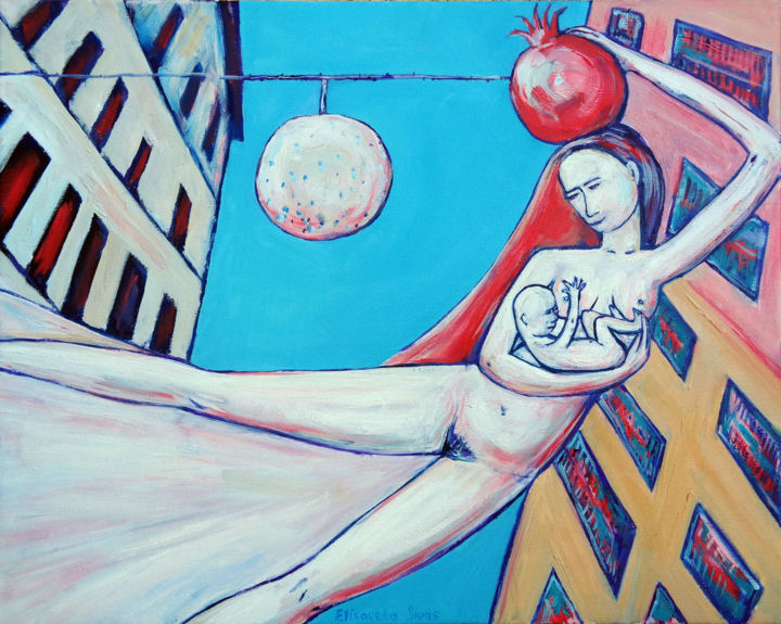 """Painting titled """"MOTHER WITH BABY FL…"""" by Elisaveta Sivas, Original Art, Oil"""