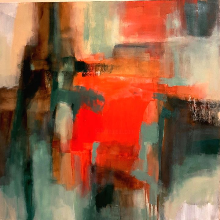 """Painting titled """"Rouge Vif"""" by Elizabeth Wescher, Original Art, Acrylic Mounted on Wood Panel"""