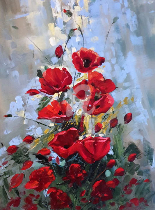 POPPIES - Painting,  60x46x4 cm ©2019 by Elizabeth Williams -                                                        Abstract Expressionism, Impressionism, Flower, Flower, floral, red, poppy, poppies