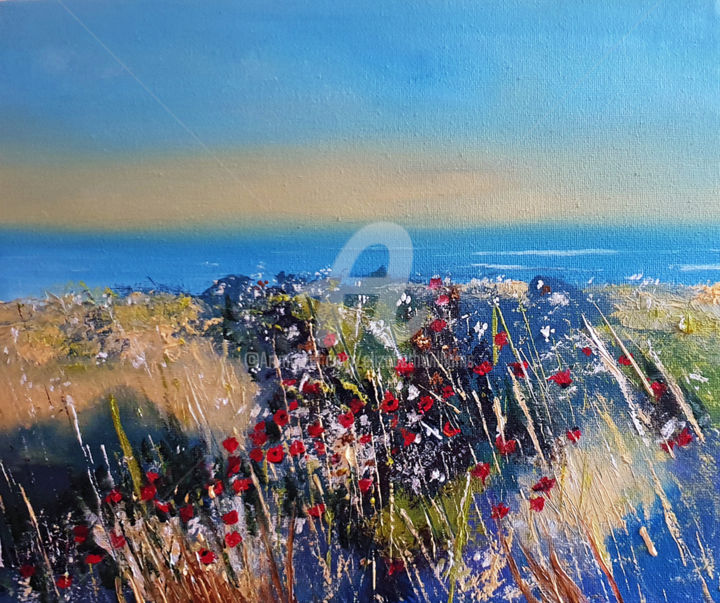 Coastal Poppies - Painting,  26x30x1 cm ©2019 by Elizabeth Williams -                                                                                                            Classicism, Impressionism, Realism, Canvas, Flower, Landscape, Seascape, Flowers, poppy, corn, coast, sea, oil painting