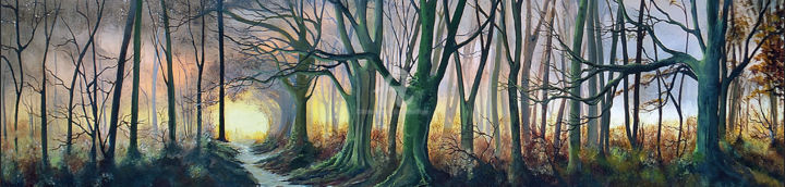 What Lies Beyond the Light - Large Panoramic - Painting,  41x153x4 cm ©2019 by Elizabeth Williams -                                                                                                        Art Nouveau, Contemporary painting, Realism, Landscape, Rural life, Seasons, Tree, Autumn, trees, woodland, forest, golden, large painting, landscape