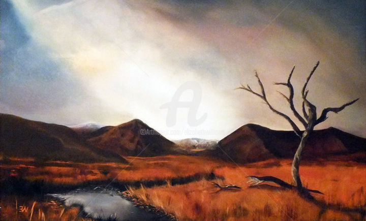 Rannoch Moor, Scotland - Framed - Painting,  24x32.3x1.6 in, ©2019 by ELIZABETH WILLIAMS -                                                                                                                                                                                                                                                                                                                                                                                                                                                                                                                                                                                                                                                                                  Classicism, classicism-933, Landscape, Places, Rural life, Tree, Water, Place, scotland, hills, tree, moors, water, river.