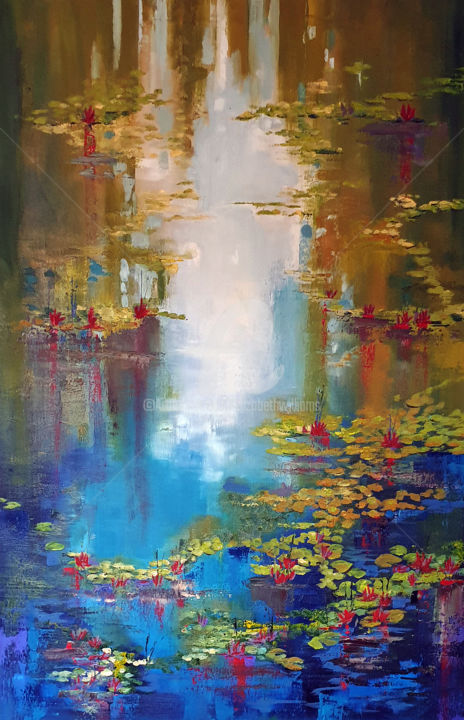 Waterlilies 4 - Painting,  36.2x24x1.6 in, ©2019 by ELIZABETH WILLIAMS -                                                                                                                                                                                                                                                                                                                                                                                                          Expressionism, expressionism-591, Flower, Landscape, Water, Waterlilies, large oil painting, pond