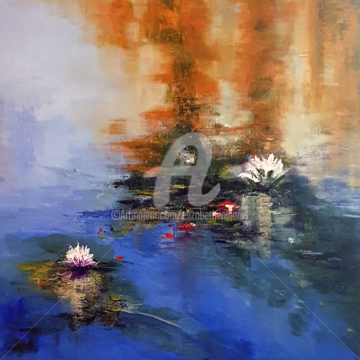 WATERLILIES 5 - Painting,  60x60x1.5 cm ©2019 by Elizabeth Williams -                                                                                                        Classicism, Expressionism, Impressionism, Realism, Flower, Landscape, Water, WATERLILIES, FLOWERS, WATER, REFLECTION, LAKE